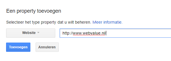 website toevoegen in search console