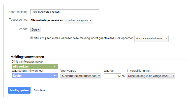 analytics melding adwords kosten